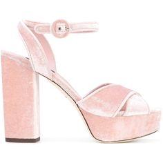 Dolce & Gabbana Velvet Sandals ($890) ❤ liked on Polyvore featuring shoes, sandals, pink, pink high heel sandals, open toe sandals, ankle strap platform sandals, platform sandals and high heeled footwear