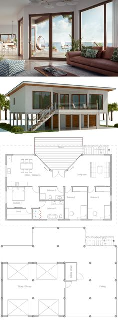 Raised coastal house plan, beach house plan, house on piers.