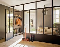 Modern boot room or mud room. House Design, Interior Design, House Interior, Mudroom, Gray Painted Walls, House, Home, Room, Glass Wall