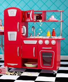 Red Vintage Play Kitchen (Only $125.99 on Zulily!)
