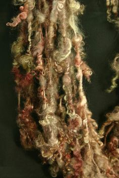 Handspun art yarn Wensleydale locks tailspun by WoolShepherdess