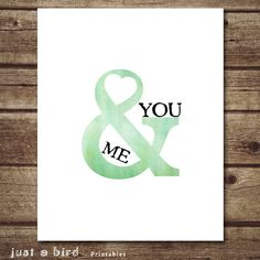 You and Me, Valentine decor, Mint green decor,Love printable, Valentine wall decor, Ampersand art decor, anniversary gift - Instant Download...