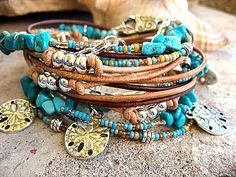 Boho Chic Endless Leather Multi Strand Triple Wrap Beaded Chain & Turquoise Bracelet...By The Sea Sand Dollars......Adjustable...., $43.00