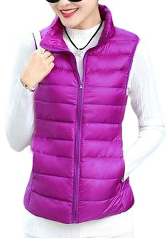 Cromoncent Women's Zipper Sleeveless Puffer Stand Collar Down Vest Purple Vests, Down Vest, Zipper, Jackets, Fashion, Down Jackets, Moda, Fashion Styles, Jacket