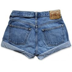 Vintage 90s Abercrombie & Fitch Medium Faded Blue Wash Mid-High Waisted Rise Cut Offs Cuffed Rolled Jean Denim Shorts – Size 28W