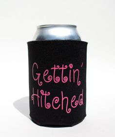 Getting' Hitched Koozie  Wedding Favor Koozie  Beer by BeBopProps, $5.00 https://www.etsy.com/listing/185971778/gettin-hitched-koozie-wedding-favor?ref=shop_home_active_1