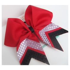 "Red 6"" Cheer Bow with silver and black chevron sequin trim ❤ liked on Polyvore featuring hair stuff"