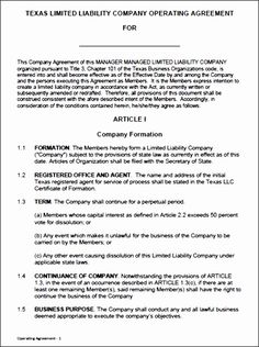 Texas Llc Operating Agreement Template Hjdnk Best Of Free Single ...