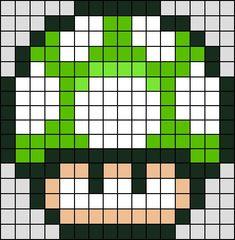 Patron / Pattern : Champignon Vert Super Mario NINTENDO en Perle HAMA (Mini)    Taille de la grille 16 x 16 (soit environ  4,0 x 4,0 cm)    Nombre de perles totales : 208 (sans le fond, que le personnage):