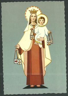 Postal antigua de la Virgen del Carmen andachtsbild santino holy card santini | eBay
