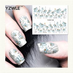 YZWLE 1 Sheet DIY Decals Nails Art Water Transfer Printing Stickers Accessories For Manicure Salon (YZW-136)