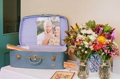Thinking of using an old hat case that my Nan gave me as our wishing well - love the lining in this suitcase  A SYDNEY HARBOUR WEDDING: ALICE   DAVE