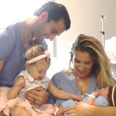 Jessie James Decker & Eric Decker introducing big sister Vivi to baby Eric.
