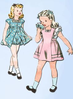 1940s Vintage Hollywood Sewing Pattern 1535 Toddler Girls Dress & Pinafore Sz 4 #Simplicity #DressPattern