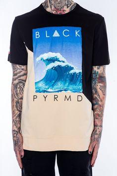 Slanted Panel Wave Tee Beige Chris Brown Clothing Line, Shirt Print Design, Shirt Designs, Black Pyramid Chris Brown, Surf Wear, Polo T Shirts, Skateboarding, Mens Tees, Clothing Ideas