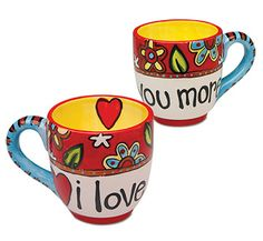 "Love You More Mug Let your loved one know how much they're loved with this funky coffee mug that declares, ""I love you more."""