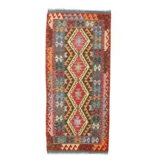 """2.10 x 6'7"""" colorful wool handwoven Maimana Kilim - dimensions are approximate."""