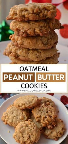 Soft melt in your mouth Oatmeal Peanut Butter Cookies. It is a quick and easy recipe with options for splitting the batch and adding chopped peanuts or chocolate chips. Save this holiday sweet treat! Easy To Make Cookies, Making Cookies, Peanut Butter Oatmeal, Oatmeal Peanut Butter Cookies, Easy Oatmeal Cookies, Easy Peanut Butter Cookies, Tasty Cookies, Cookies Soft, Oatmeal Cookie Recipes