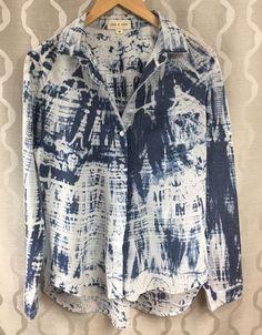 Cloth & Stone Womens Size Medium M Acid Wash Bleach Tie Dye Button down Shirt #clothstone #ButtonDownShirt #Casual