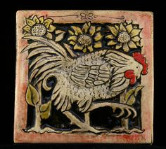 Rooster with sunflowers. tile via Etsy.