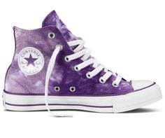 Converse Chuck Taylor All Star Tie Dye Hi-Top Trainers, Purple / White Style Converse, Cool Converse, Outfits With Converse, Converse Sneakers, Converse High, Tie Dye Converse, Canvas Sneakers, White High Top Sneakers, White Flat Shoes