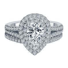 I Am Loved® 1 1/2 ct. tw. Diamond Halo Engagement Ring Set in 14K White Gold