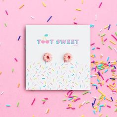 Mini Strawberry Stylised Donut Earrings – Toot Sweet by Sweet Magazine Handmade Polymer Clay, Polymer Clay Jewelry, Gifts For Mum, Gift For Lover, Rainbow Lollipops, Fairy Bread, Handmade Market, Bold Jewelry, Bar Earrings