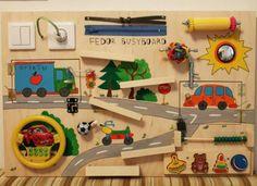 activity board selber machen malen-autos-steckdose-puzzle-holz