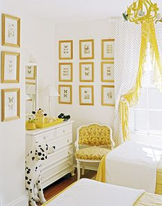 Girl's Bedroom. Twin Beds. White. Black. Yellow. Dots. Butterfly Yellow Frame Art Prints. Dalmatian.
