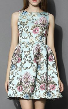 My Fair Lady Baroque Embroidery Dress in Blue