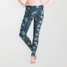 """White roses, blue leaves"" hand drawn floral pattern Leggings by Clipso-Callipso…"