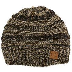 301c2987da495 Unisex 2 Tone Warm Chunky Thick Stretch Knit Slouch Beanie Skull Hat Mix  Black  fashion