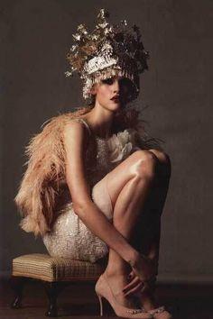 Vera Wang dress. Basia Zarzycka feather wrap. VV Rouleaux headpiece in British Cosmo Bride, 2008.