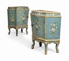 A pair of Venetian parcel-gilt green-painted bedside cabinets mid-20th century #lestroisgarcons