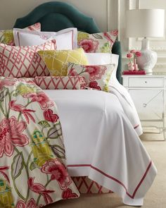 """King Garden Gate Coverlet with Pink Trim, 108"""" x 96"""", White - Legacy Home"""