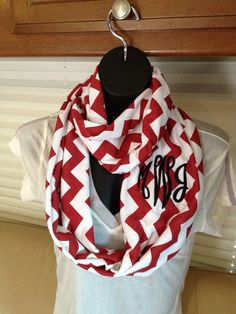 Monogrammed Crimson Red and White Chevron Infinity Scarf