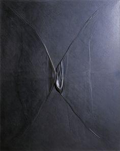 Takesada Matsutani / Joint 2-86 / 162 x 130cm / Vinyl relief,graphite pencil,Japanese paper on canvas / 1986