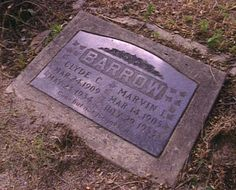 """Cylde and Bucks Headstone.The 2 before this one were chipped all the time from tourists ect. to have a souvenier.This is the one that marks the graves now.Clyde was buried at sunset on a Friday evening in Western Heights Cemetary.Their stone says and always has, """"Gone but not Forgotten."""""""