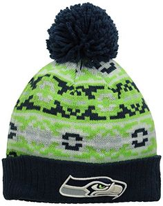 NFL Seattle Seahawks New Era Retro Chill Pom Beanie One Size Blue ** See this great product.