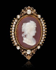 French chalcedony and pearl cameo, c. 1880.