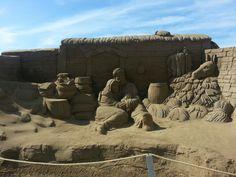 Portal de Belén de arena.