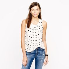 Dotted silk shell : AllProducts | J.Crew