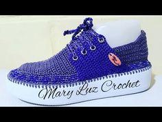 ZAPATO TEJIDO EN CROCHET MODELO MAYE - YouTube Crochet Sandals, Crochet Shoes, Crochet Slippers, Knit Crochet, Bare Foot Sandals, Shoes Sandals, Dress Shoes, Flip Flop Sandals, Flip Flops