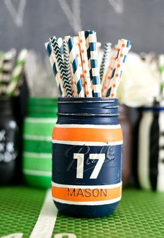 Football Jersey Mason Jar - Father's Day Gift Ideas - Mason Jar Crafts for Father's Day - Mason Jar Gifts for Father's Day - Kid's Crafts for Father's Day @Mason Jar Crafts Love blog