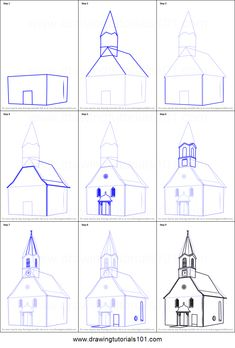 How to Draw a Church Building printable step by step drawing sheet : DrawingTuto. Interior Architecture Drawing, Architecture Drawing Sketchbooks, Drawing Sheet, Painting & Drawing, Pencil Art Drawings, Easy Drawings, Draw Tutorial, Canvas Painting Tutorials, Building Drawing
