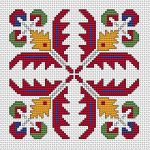 Bulgarian Ethnic Motif 1 pattern A colorful pattern based on traditional Bulgarian cross stitch.Suitable for biscornu making and contains full stitches and back stitches. • Published yesterday • 69×69 stitches • 5 colors