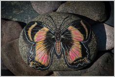 Zodiac Butterfly on Lake Superior Stone by StonewingsbyOshi on Etsy