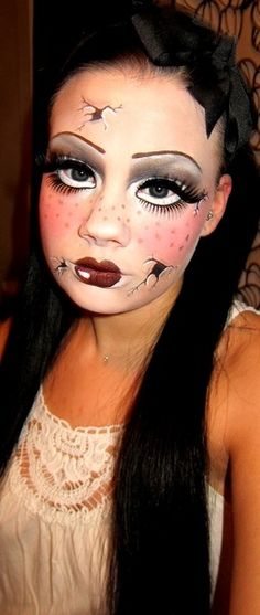 DIY doll costume - - I am being a doll for Halloween and was wondering what I should wear, how to do my nails, hair, and makeup. Idk if I am going to be a creepy. Diy Doll Costume, Creepy Doll Costume, Creepy Dolls, Costume Makeup, Halloween Costumes, Creepy Doll Makeup, Broken Doll Costume, Costume Ideas, Puppet Makeup