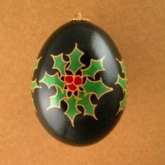Pysanky Ukrainian Easter Egg Holly Pointsettia by JustEggsquisite, $15.00