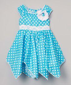 Look at this #zulilyfind! Blue & White Polka Dot Handkerchief Dress - Toddler & Girls #zulilyfinds